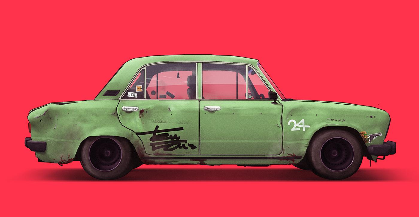 Russia Car Illustration automotive   lada soviet car ussr 90s 80s vehicles jeep