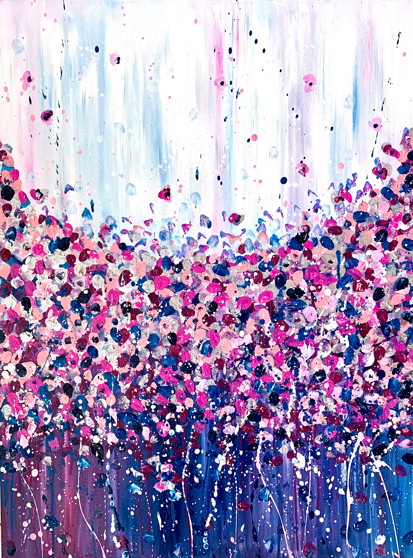 abstract acrylic canvas Colourful  floral happy monochrome Original petals uplifting