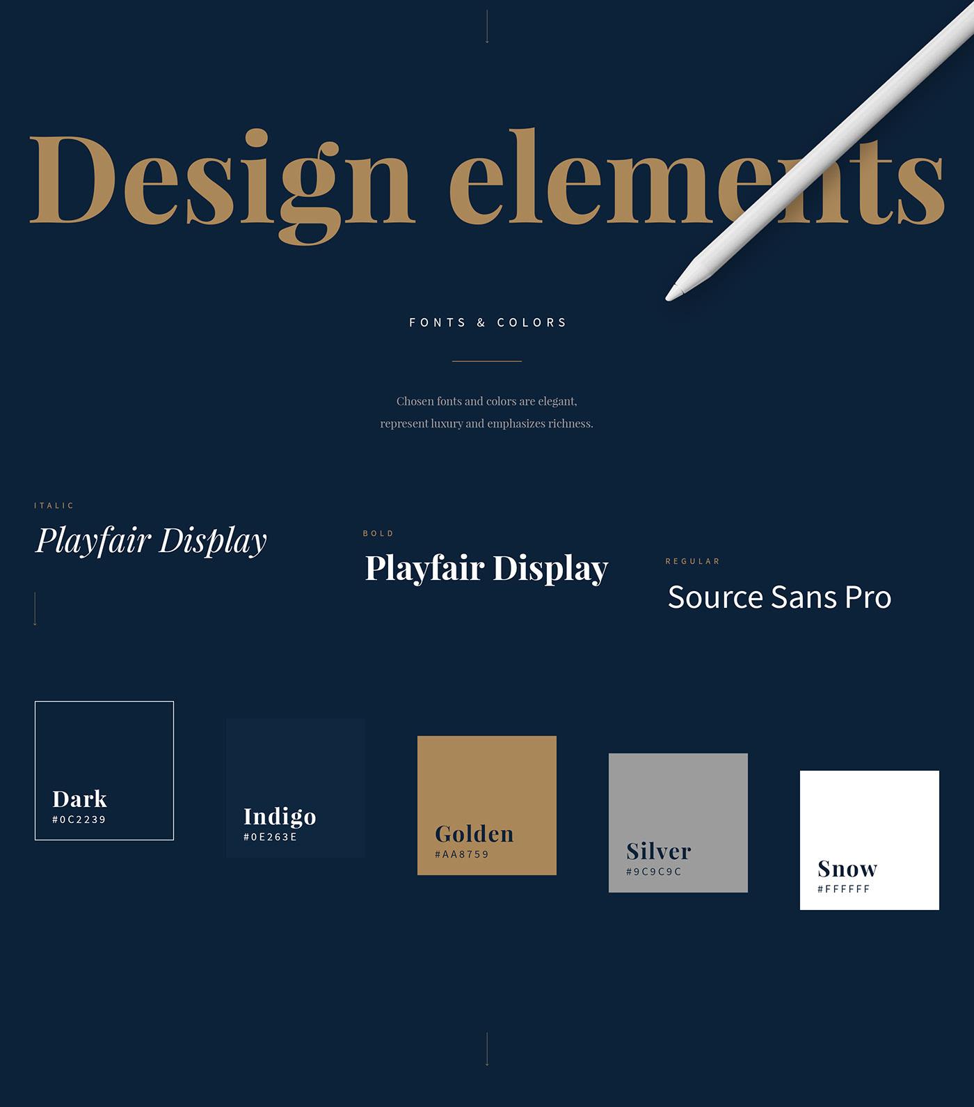 business luxury gold dark Webdesign UI money rich blue company