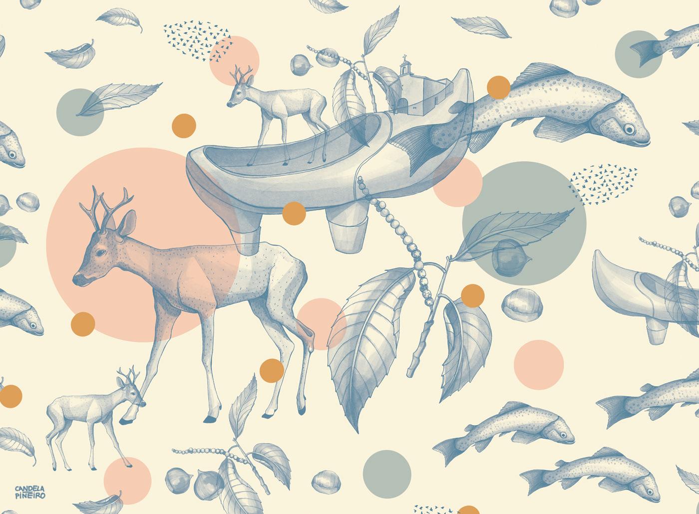 acuarela Diseño de estampados estampado Illustrated pattern ilustracion ilustración botánica pattern pattern design  pattern textil textil design