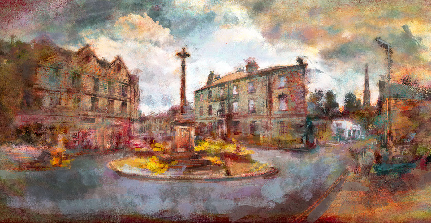 Digital Art  digital painting photoshop Bakewell architecture Town Centre