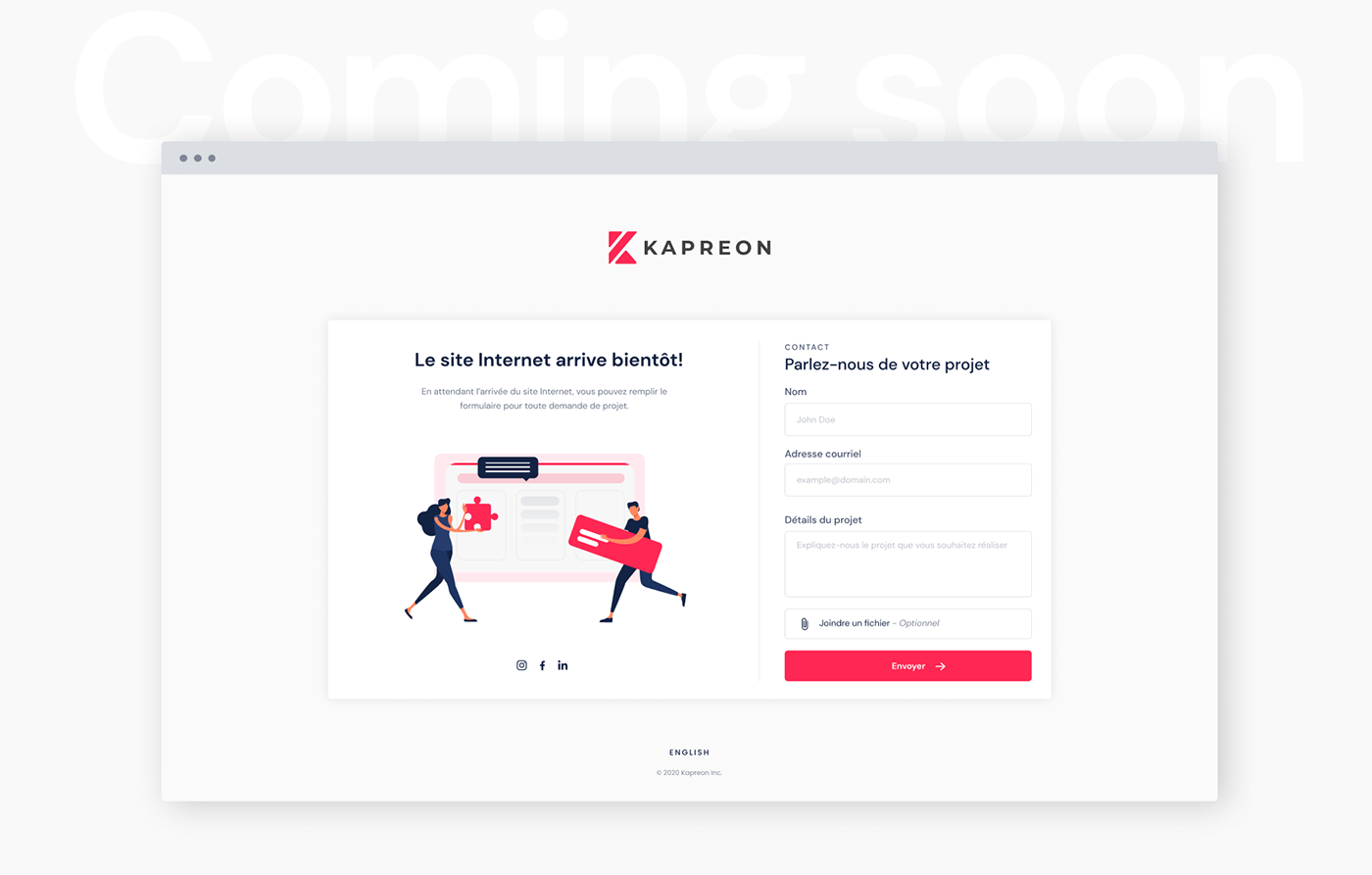 Kapreon landing page for coming soon.