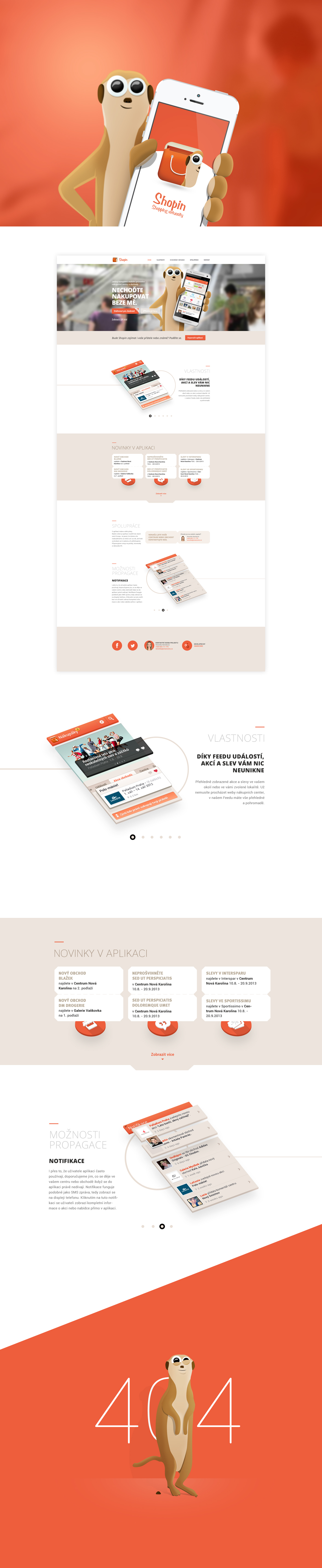 Shopping centre flat 404page orange mobile app microsite Responsive fading meerkat