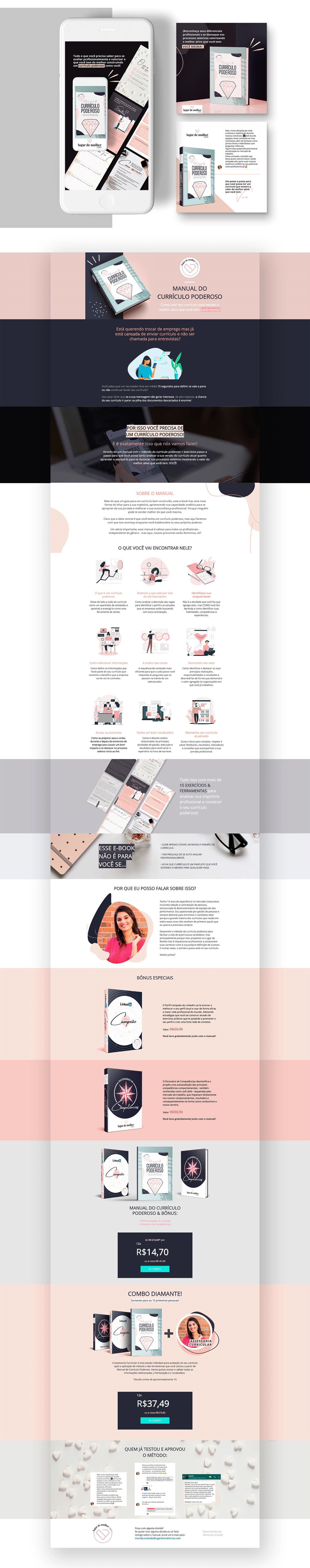 Currículo diagramação e-book infoprofuto Lançamento Digital landingpage vendas Webdesign
