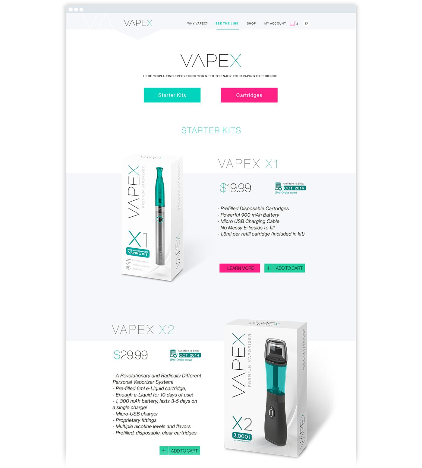 Vapex Web design Website e-cigarette vaping smoking UI ux Bradning