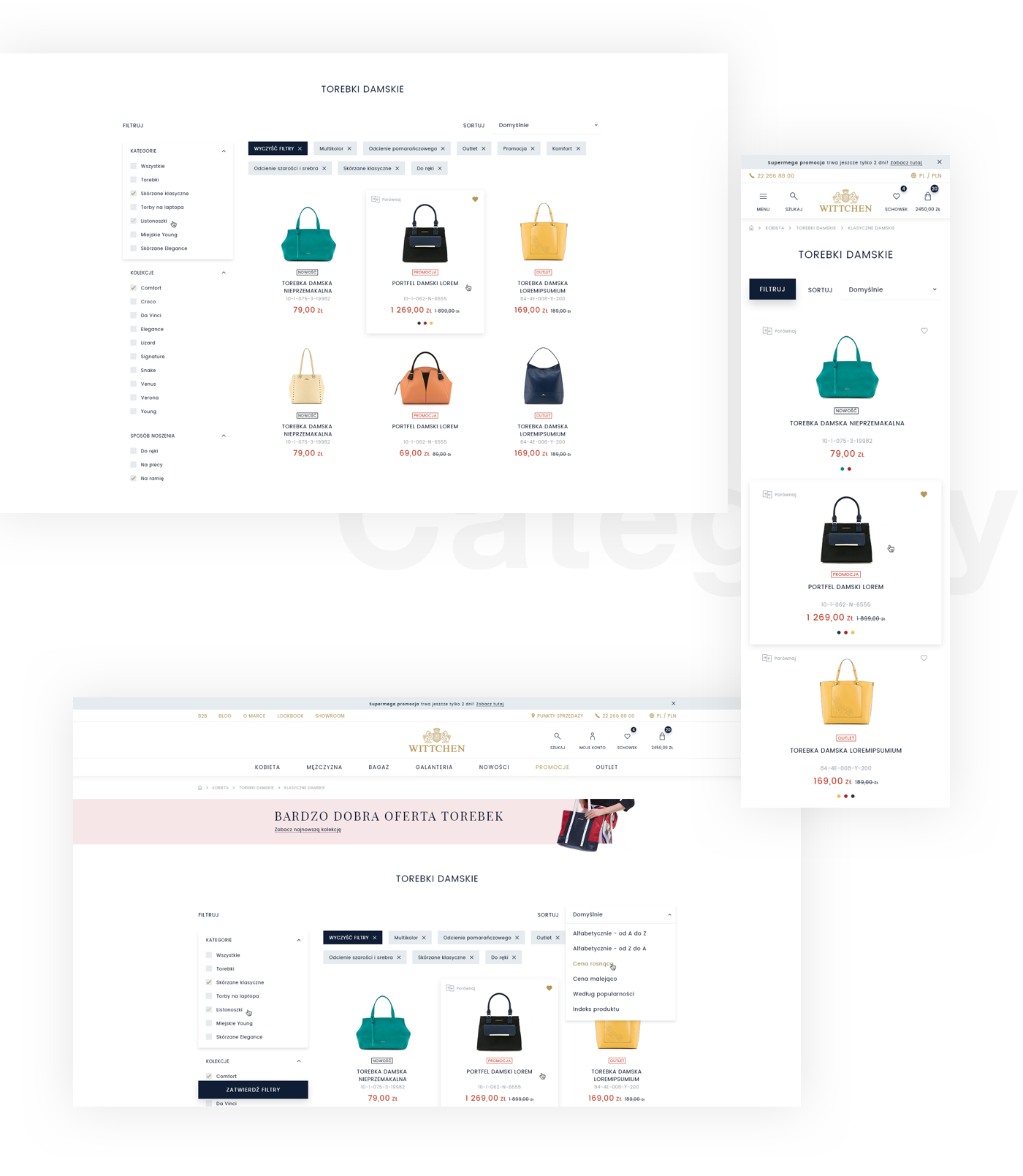 wittchen luxury Web Fashion  leather Online shop e-commerce shop mobile rwd