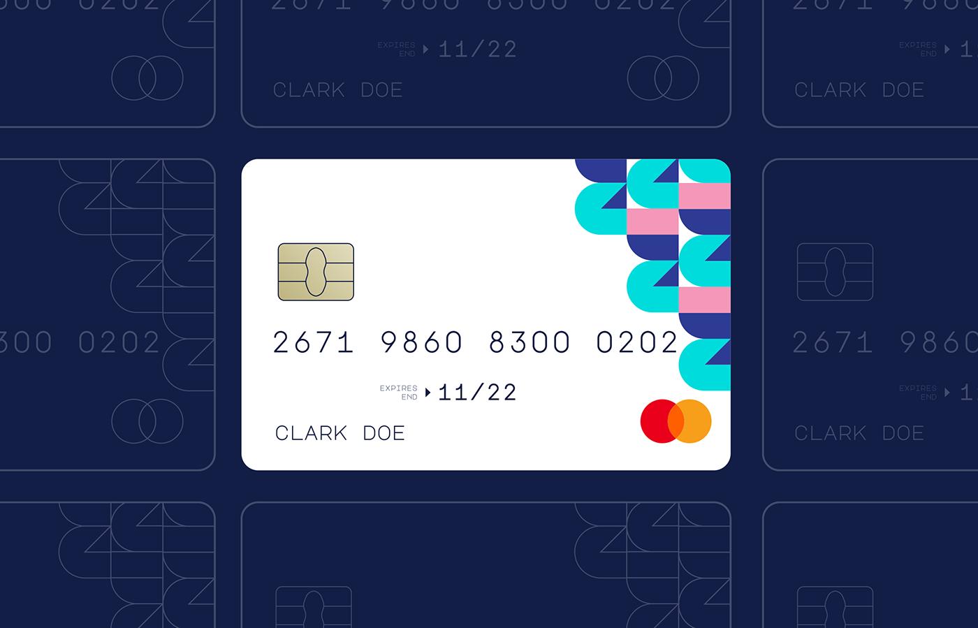 fintech bank credit card design white