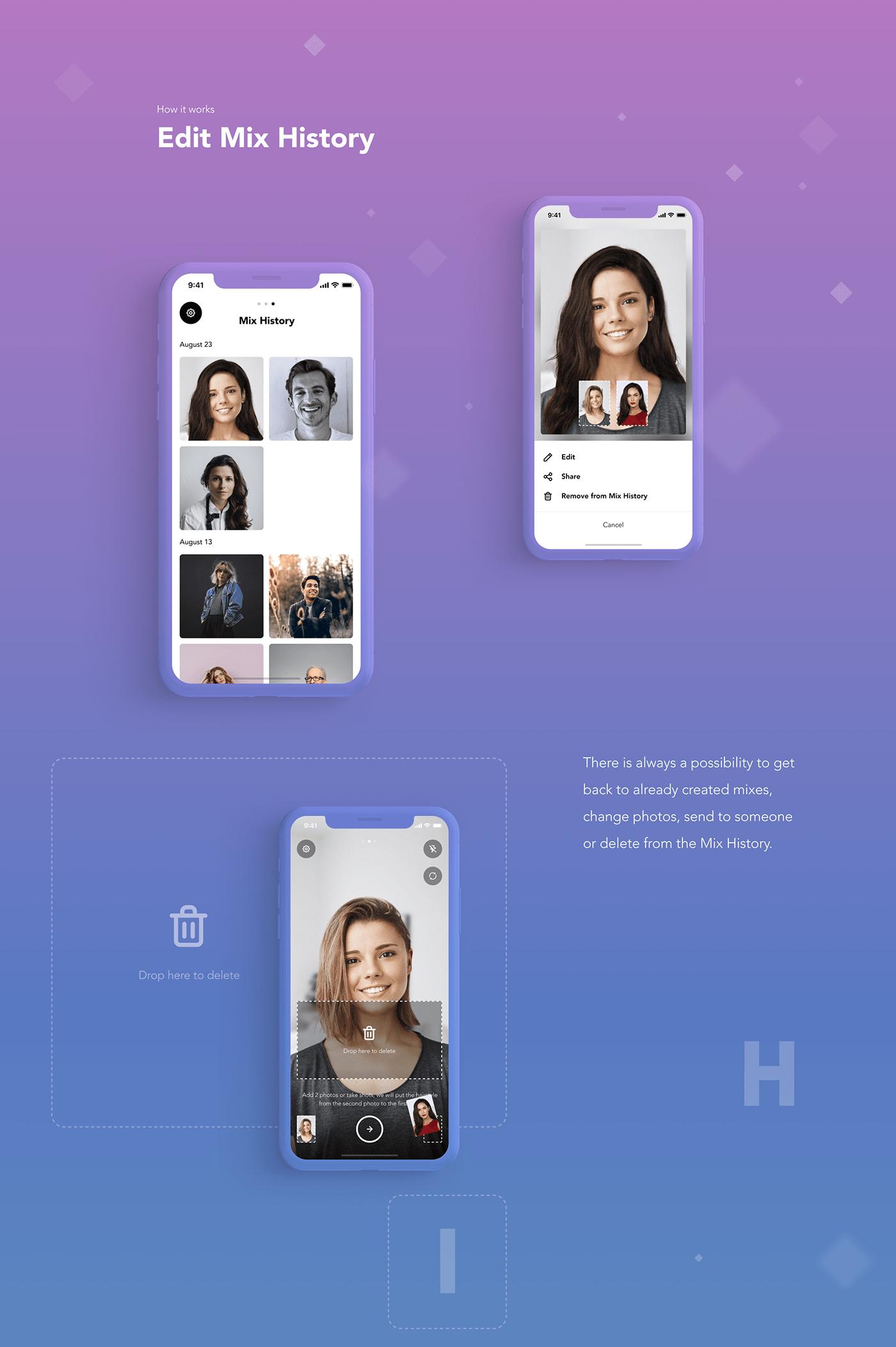 hair app UI color animation  Startup Mockup Fun mobile ux