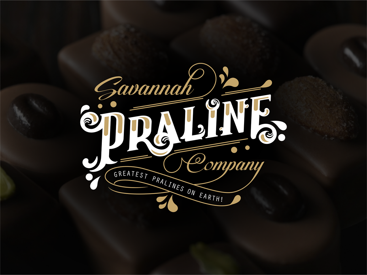 Praline chocolate Candy Candy shop Tupography lettering gold ice cream