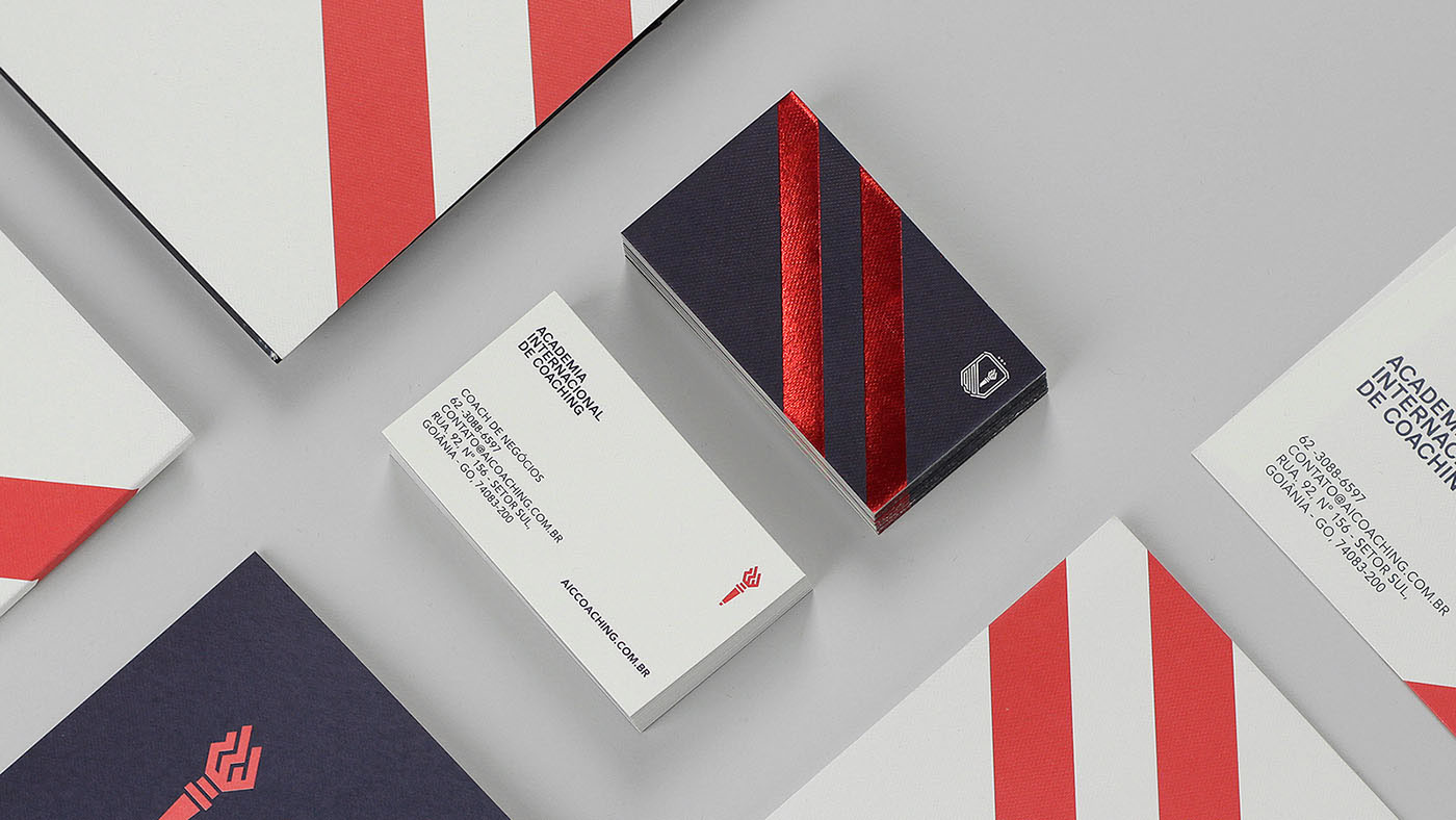 red blue stripes academy learning coaching red foil hot stamp Hot Foil University torch accomplish win Education inspiration