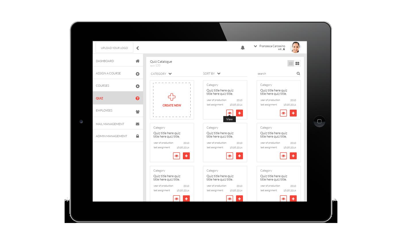 e-learning dashboard corporate University design material