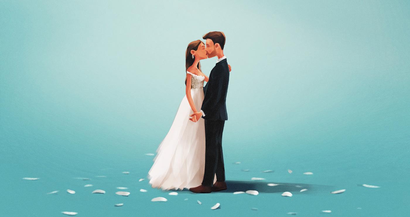 Image may contain: kiss, wedding dress and bride