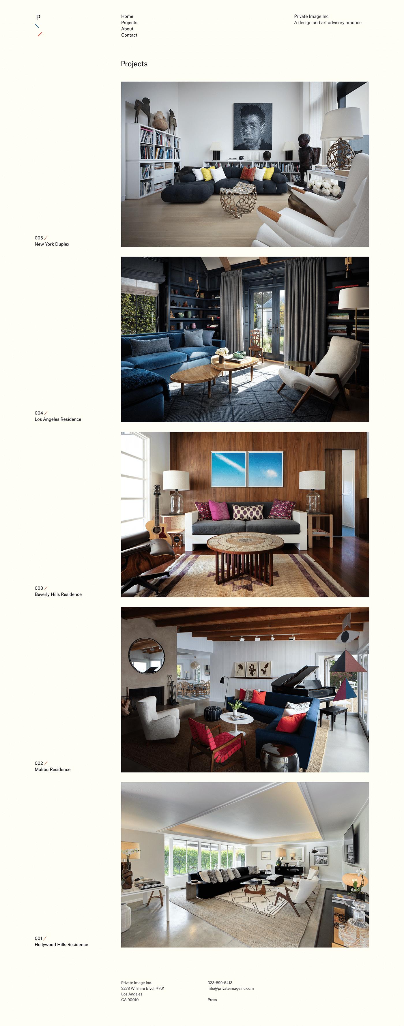 art design grid based interior design  Private Image Inc squarespace The Printer's Son Web Design  web development