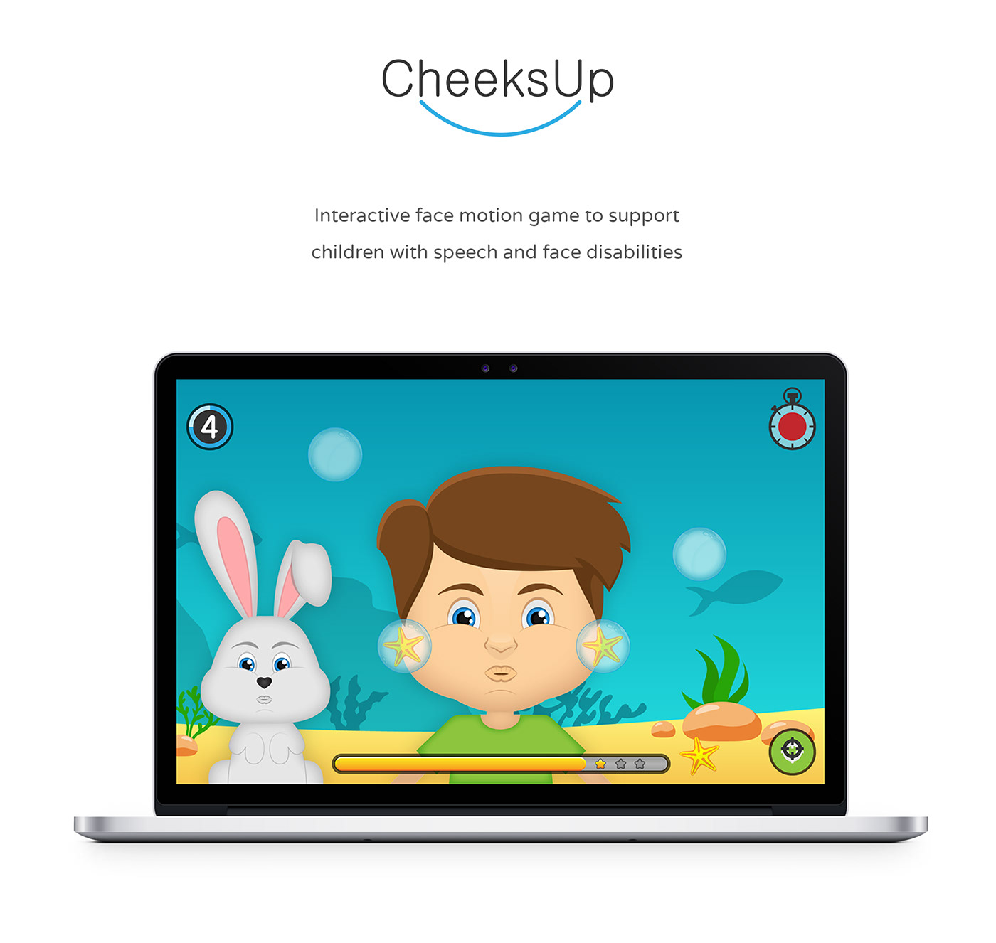 Children Game game interface game speech therapy game bunny boy character girl character blue face motion kids game