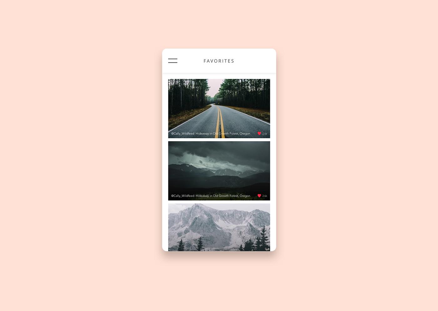 favorites app photos feed UI ux Interface design Webdesign daily ui