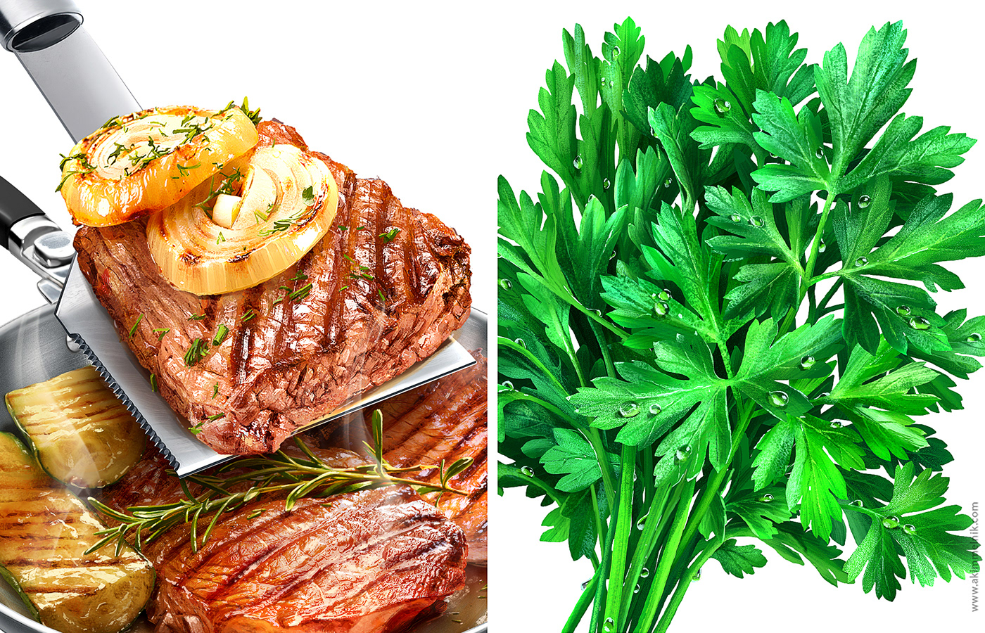 Illustrations of meat dishes and herbs for spice packages