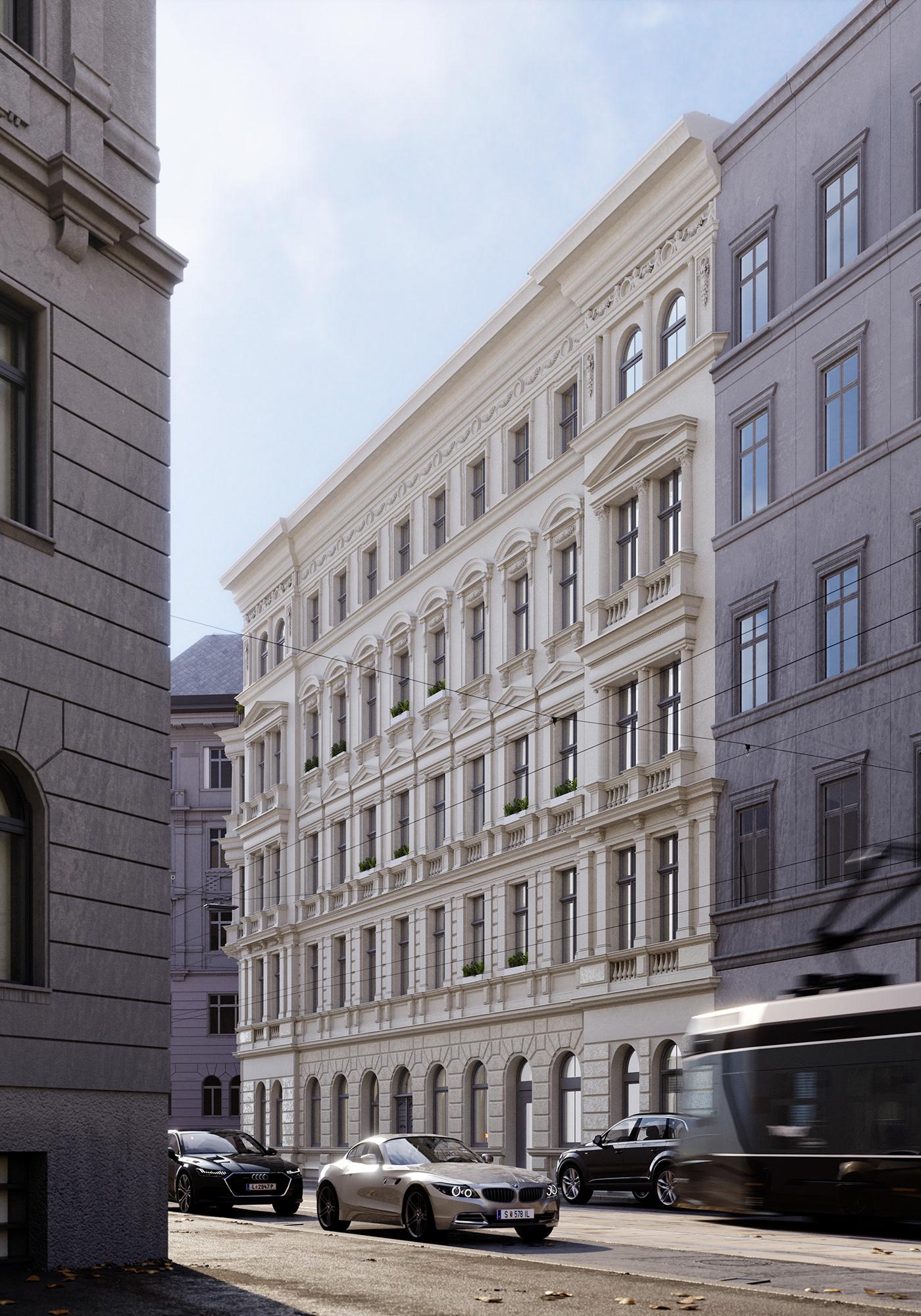 architecture archviz blender building city cycles e-cycles exterior Street vienna