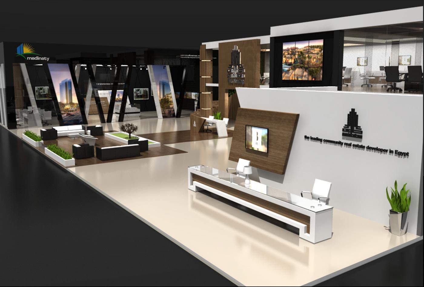 TMG Talaat Mostafa creative booth Brandinc brandinc. 2 levels cityscape wood 3D Maya construction Exhibition  Stand
