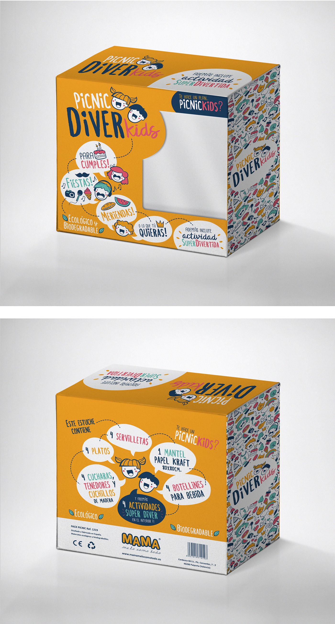 Packaging kids diver infantil ilustracion diseño