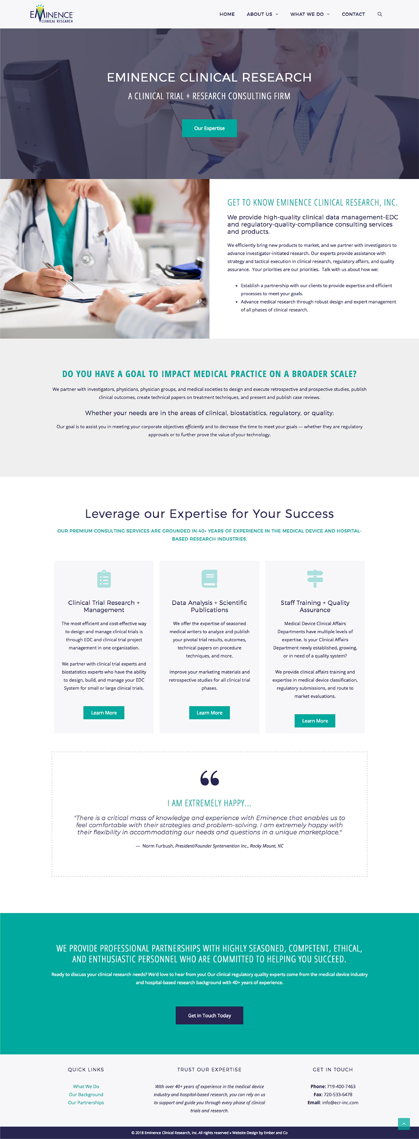 Wordpress Website for Clinical Trials Consulting Firm