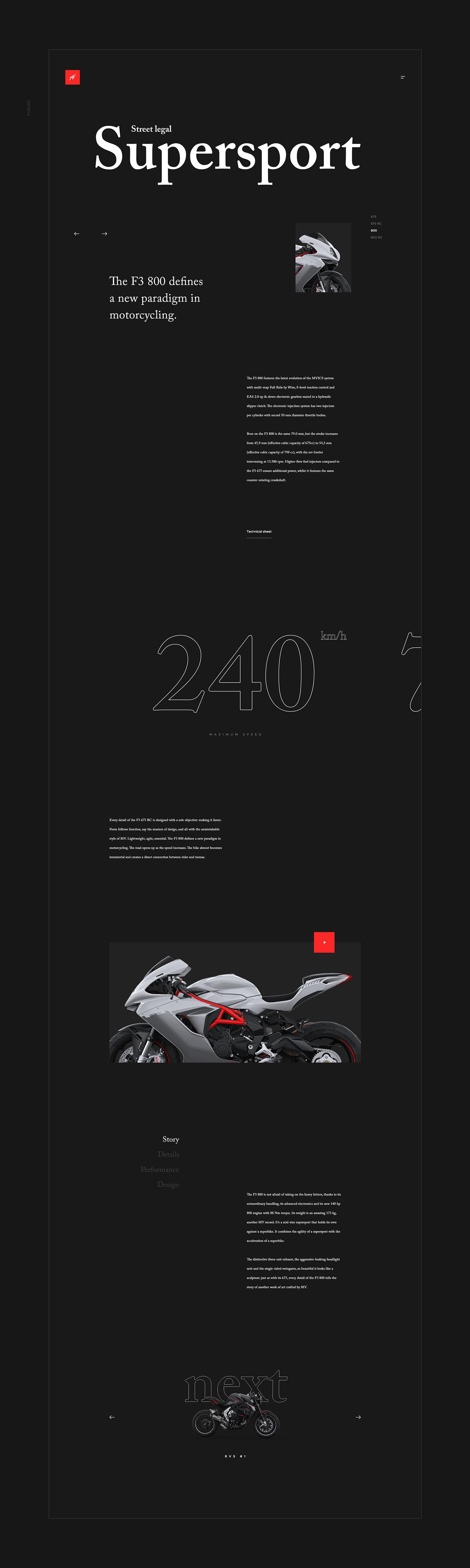 MV agusta Bike redesign UI ux typography   concept black moto