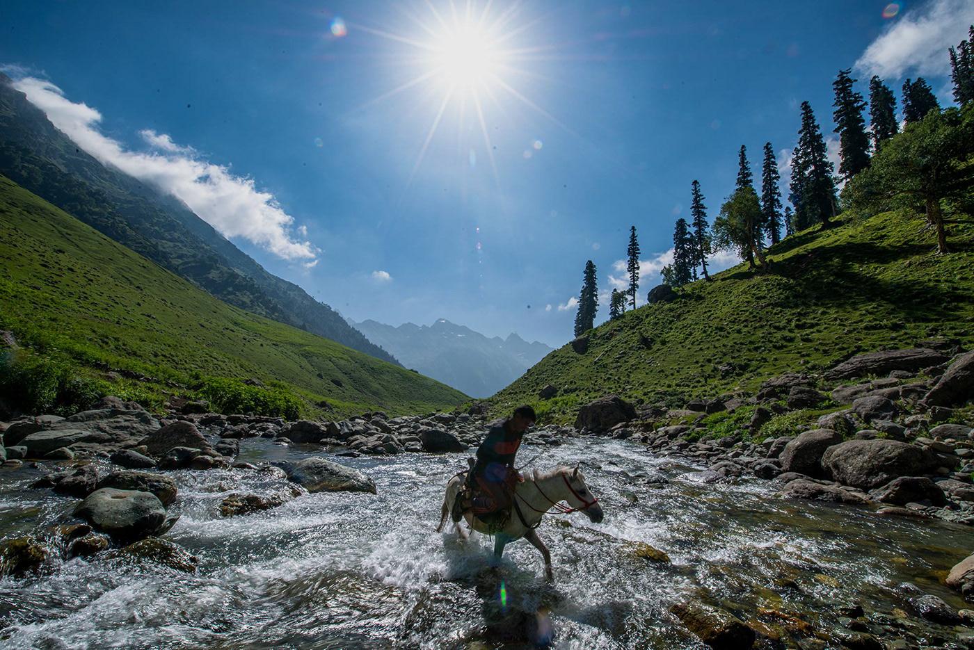 Bakarwal nomad crosses mountain stream on horseback. Kashmir India