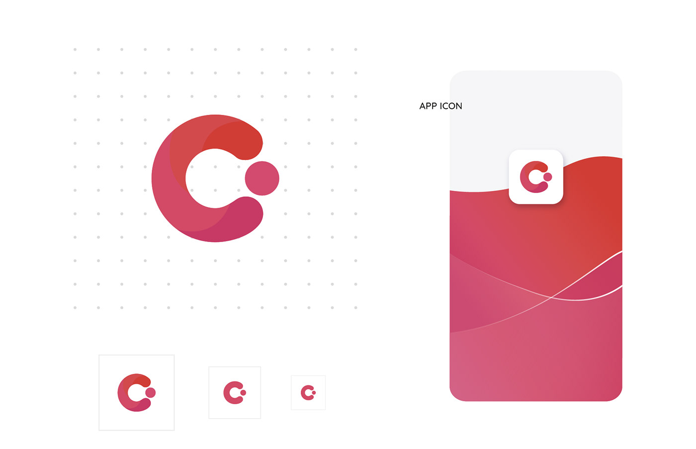 design gradient smooth lines colour pink app design Icon ILLUSTRATION  Mockup