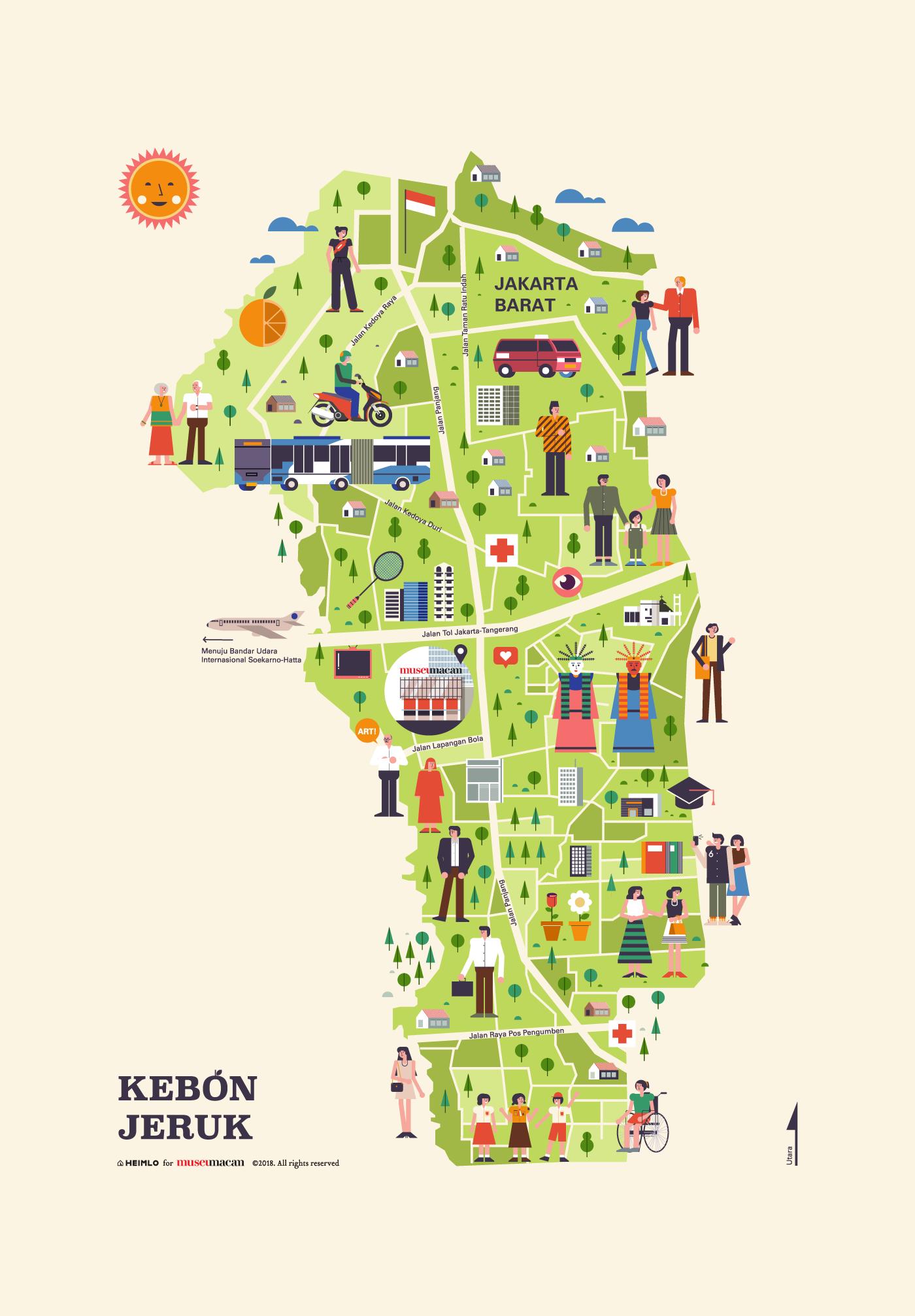 architecture heimlo indonesia infographic jakarta map merchandise museum people souvenir