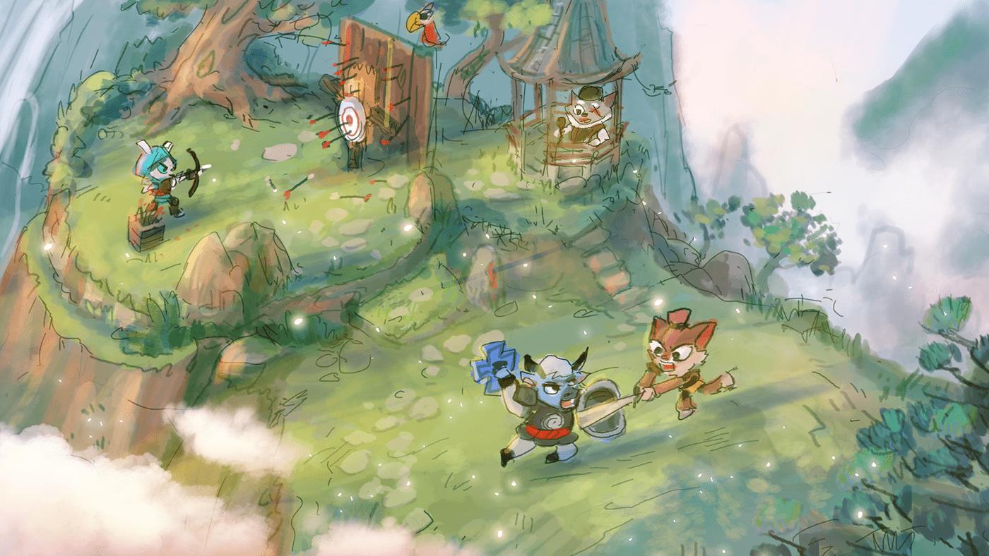 RPGgame BattleVideoGame RPG environment art RPG concept art anime inspired art game concept art 2D world development Teo Bound by Blades Character design