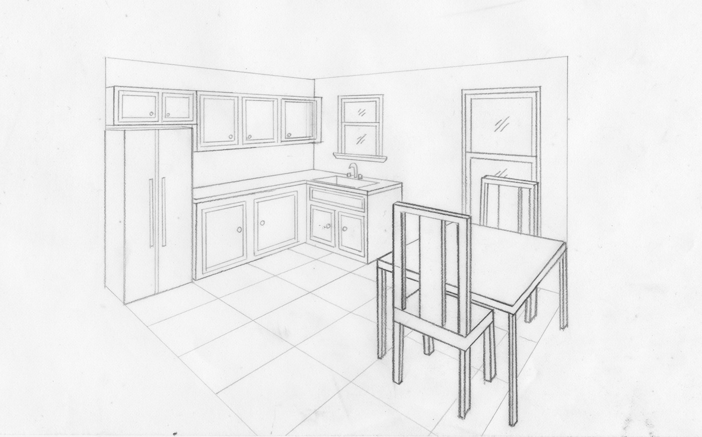 I Used A Plan Of My Choice To Create A Two Point Perspective Drawing Of A Living  Room ... Part 49