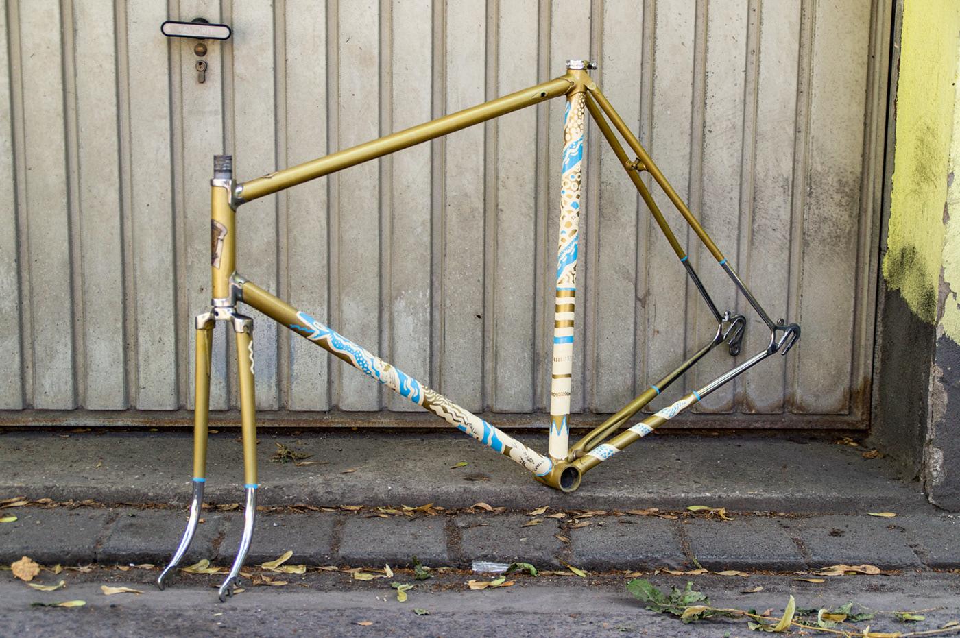 abstract Bikeframe handmade Oneshot pattern repetitive snake handpainted ONESHOTCOLOURS sports
