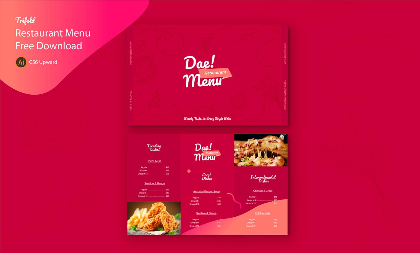 adobe illustrator brochure Food  free download freebies print template restaurant