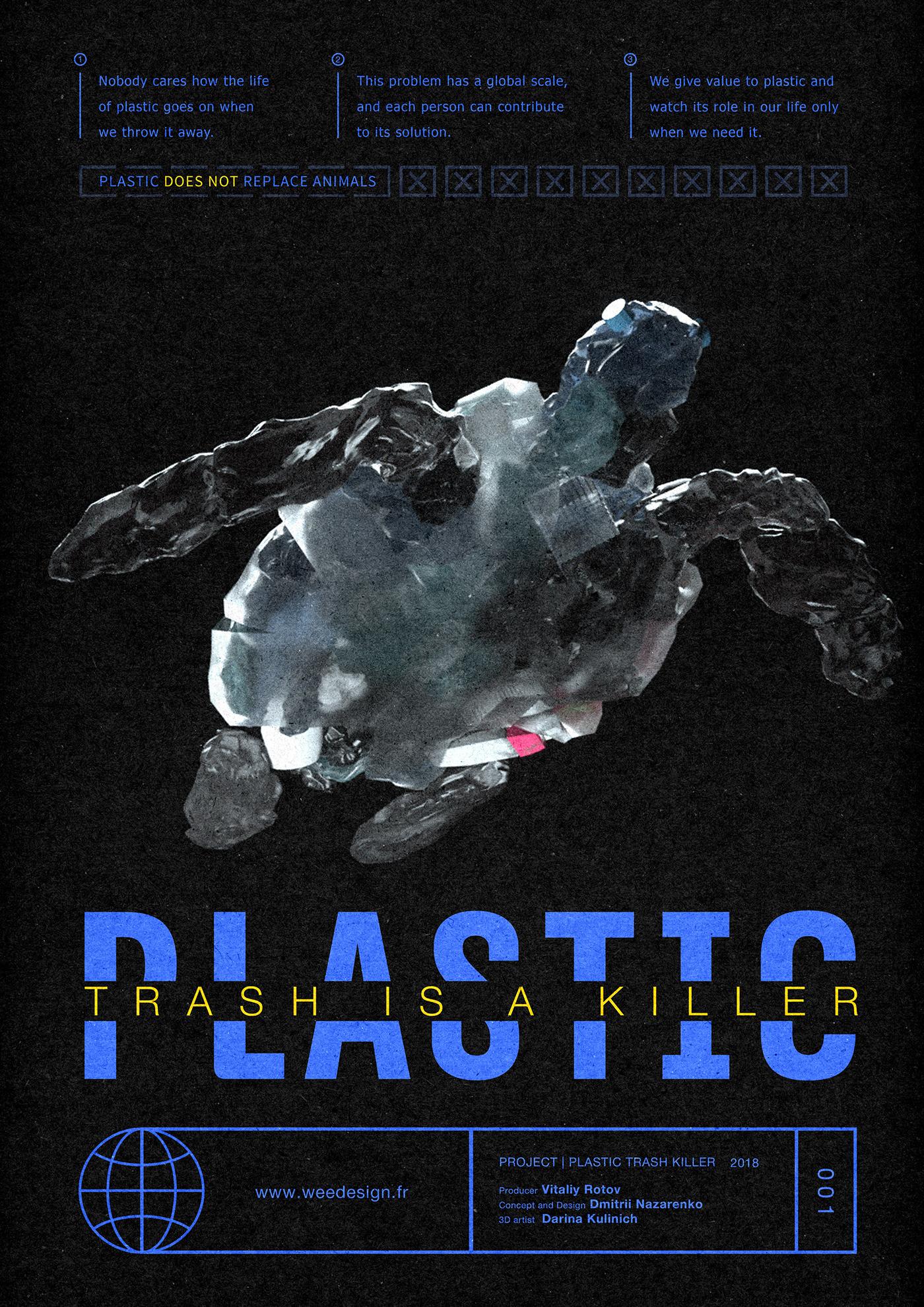 plastic animals trash Ecology Turtle bird penguin poster