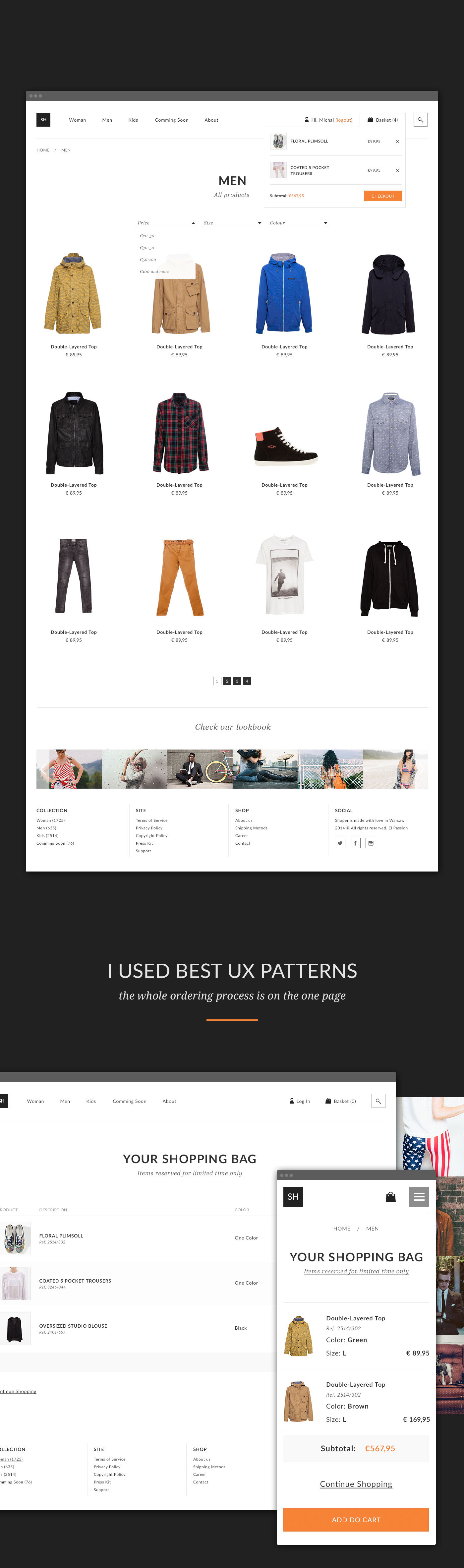 Website user interface user experience ux store shop E COMMERCE template Online shop shopping cart freebie flat product details