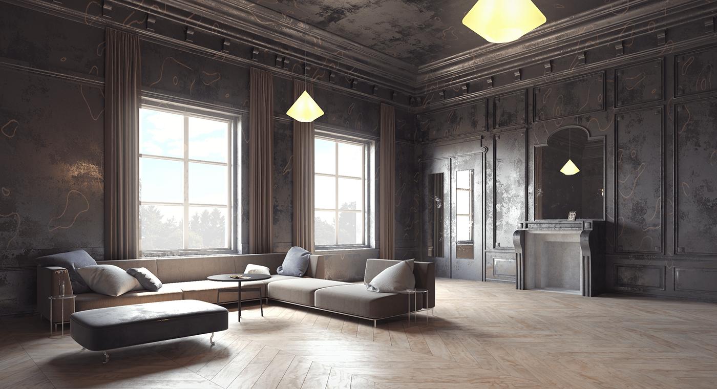 Classical dark Interior neoclassical visualization