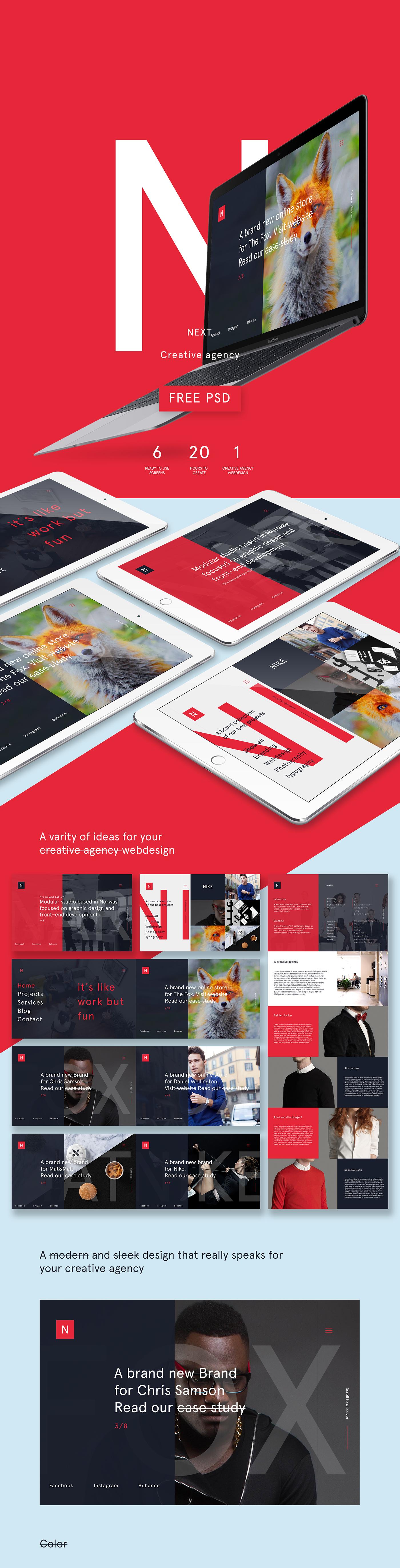 creative agency psd free on behance