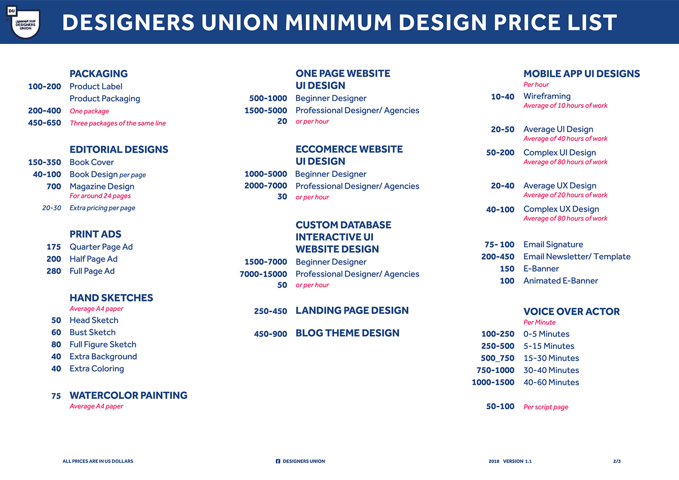 Official Du Design Minimum Price List On Behance