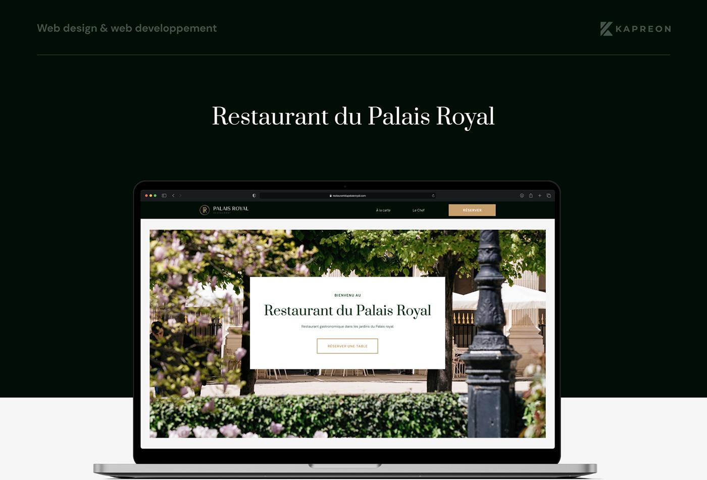 Case study of Restaurant du Palais Royal. Website redesign. Image on a MacBook Pro Mockup.