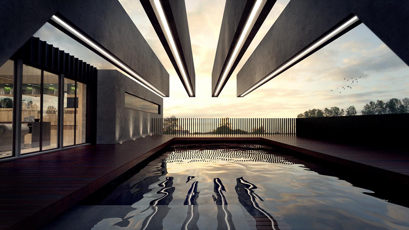 3D,visualisation,modern,house,Digital Art ,deck,sunset,Pool,water,light