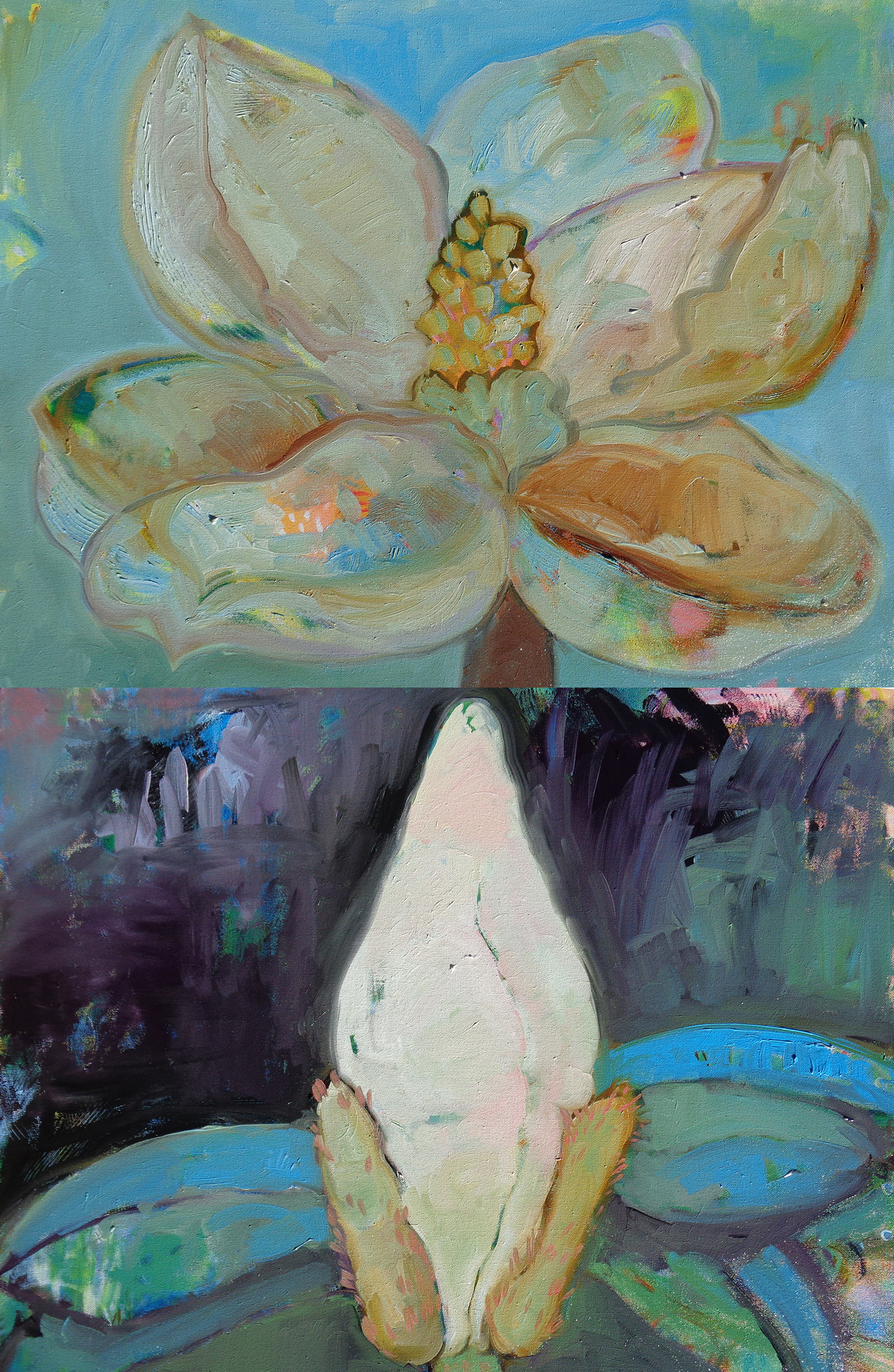 Oil Painting seed pods Triptych Flora