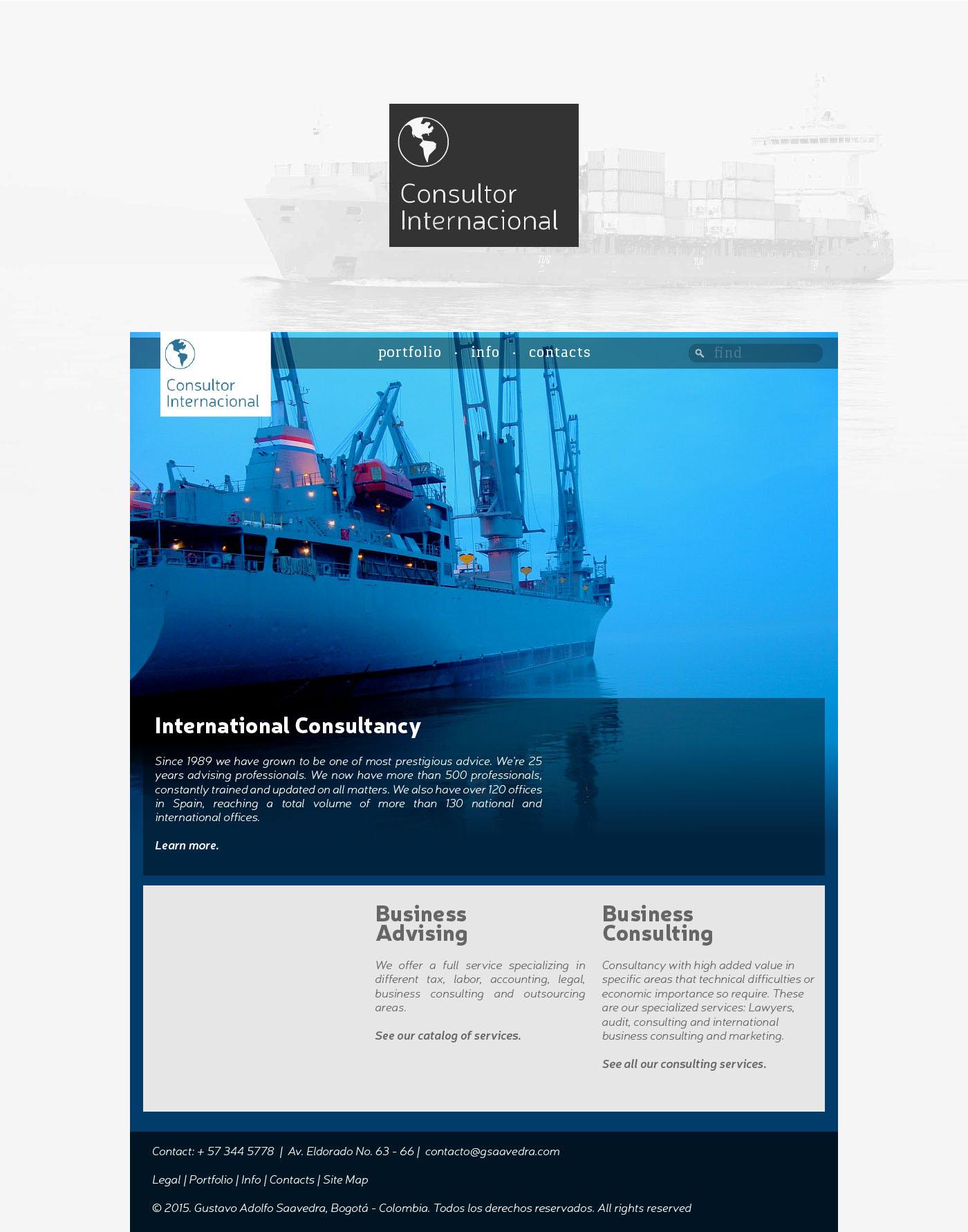 Consultor Internacional Web webpage concept Website
