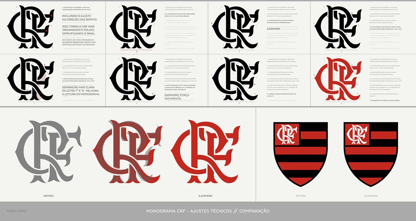 redesign identidade visual futebol flamengo CRF Logotipo visual identity Esporte sport graphic design