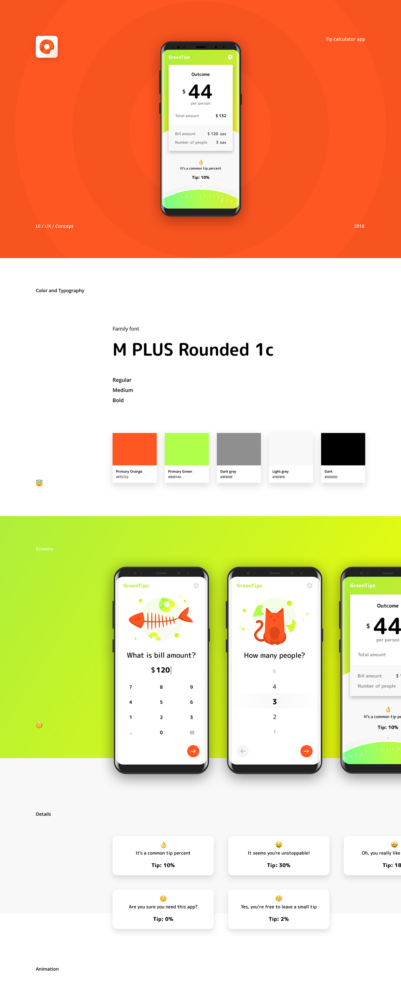 Green Tip | Tip Calculator App on Behance