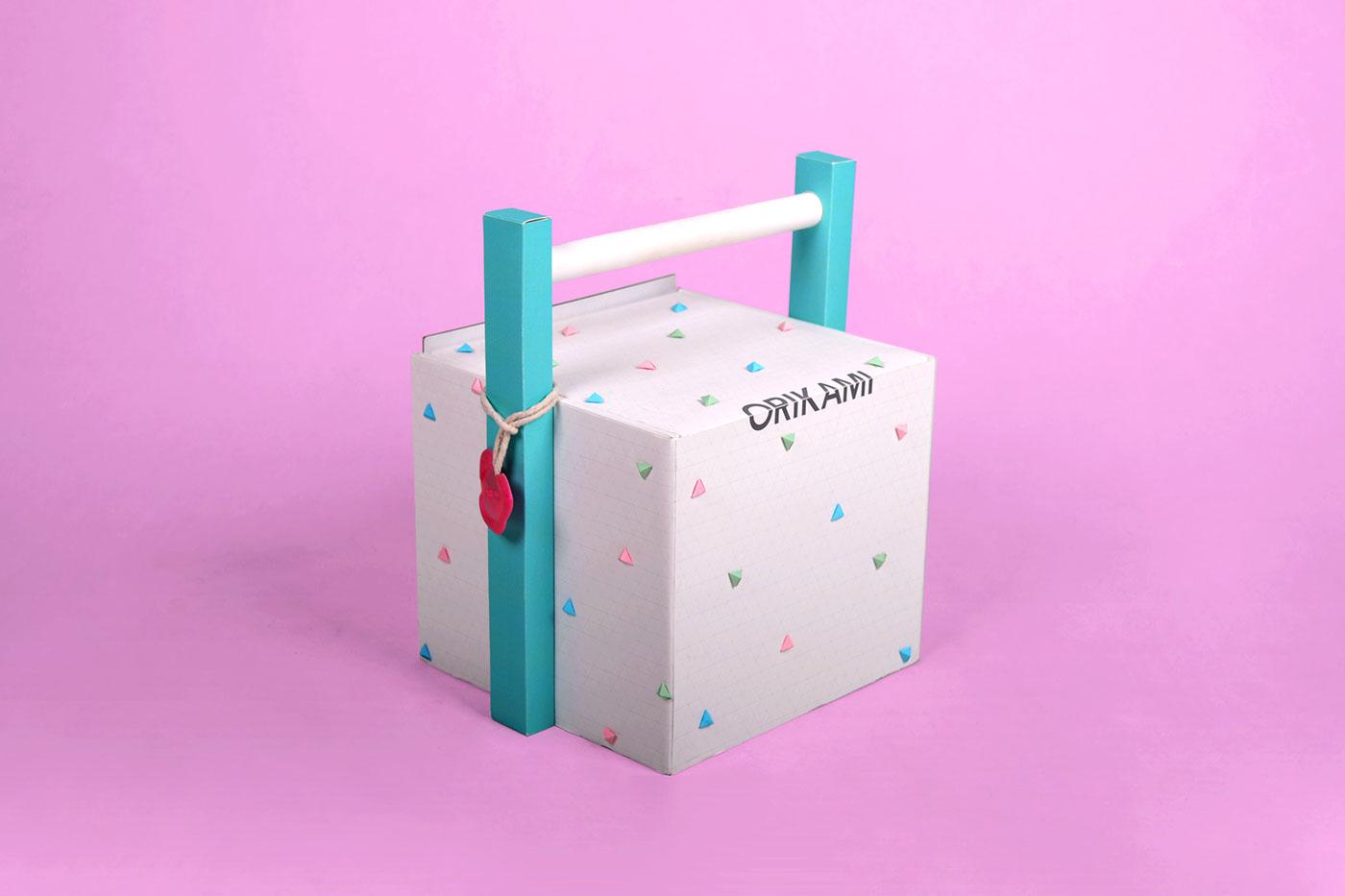 Adobe Portfolio origami  orikami creative toy set box graphic design kid children Birthday gift fold craft art