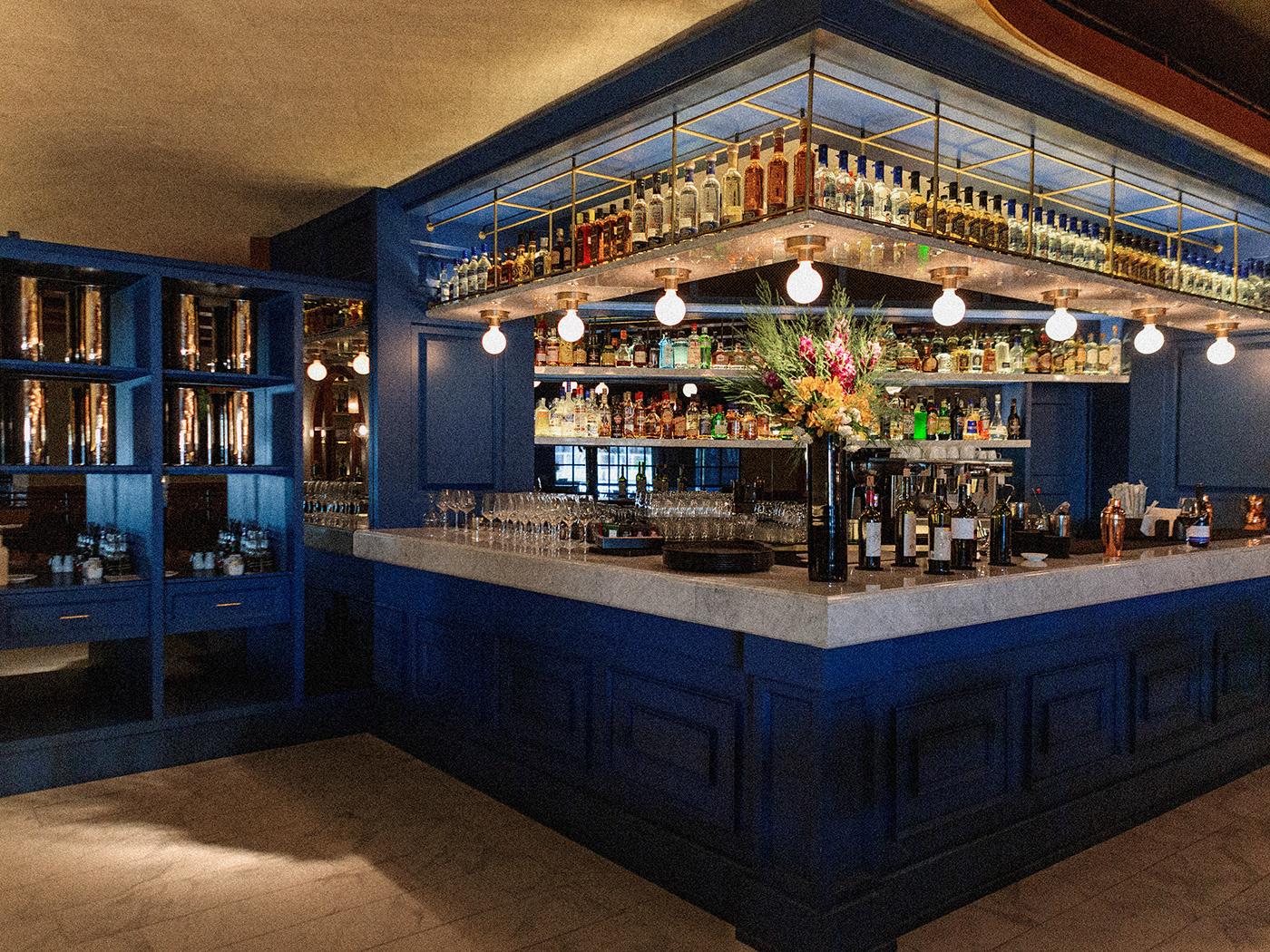 restaurant monterrey parametrostudio design interiordesign foodandwine blue typography   logo identity