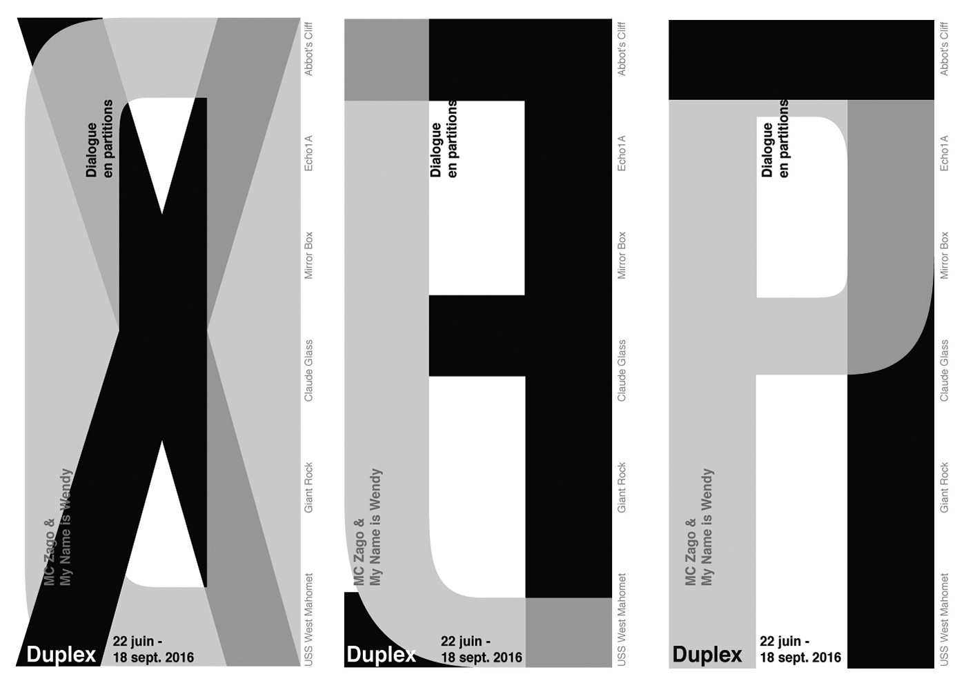 Layouts, graphic design and flyers for exhibition