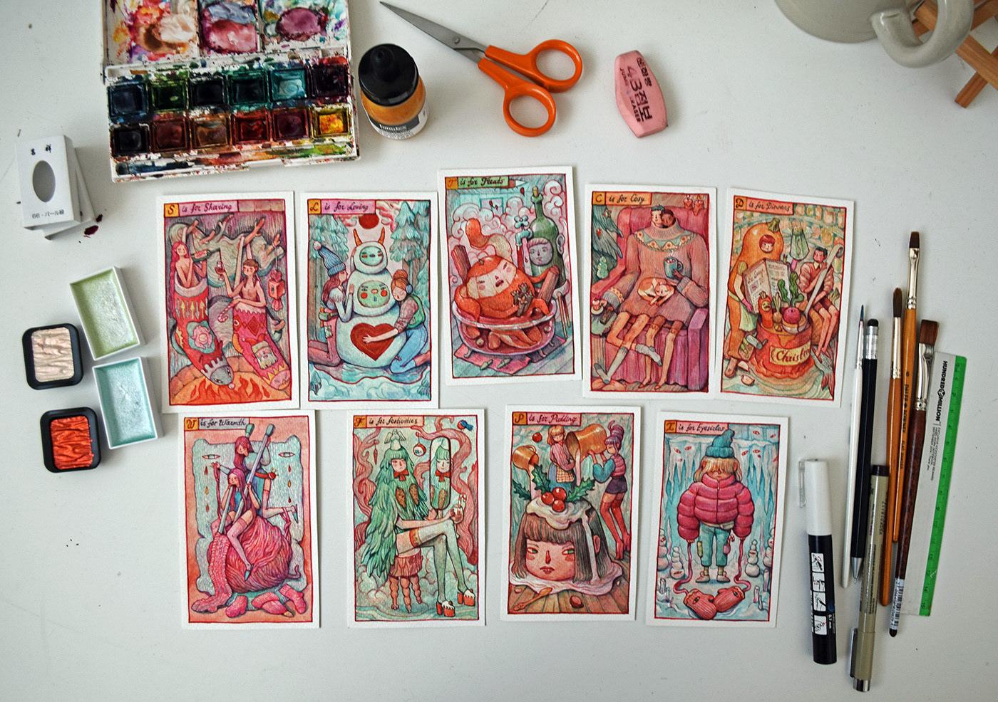 Make Winter Weird Again - a set of festive watercolors