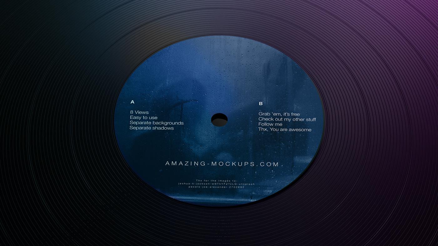 dark free Mockup music neon vinyl
