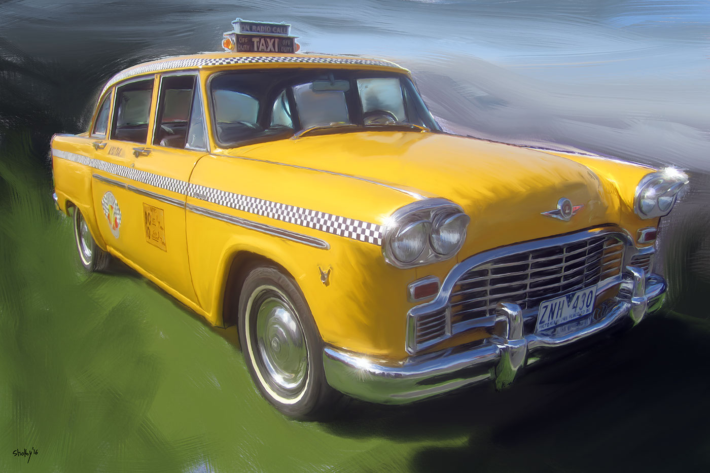 Classic Cars jules verne digital painting maserati checker cab