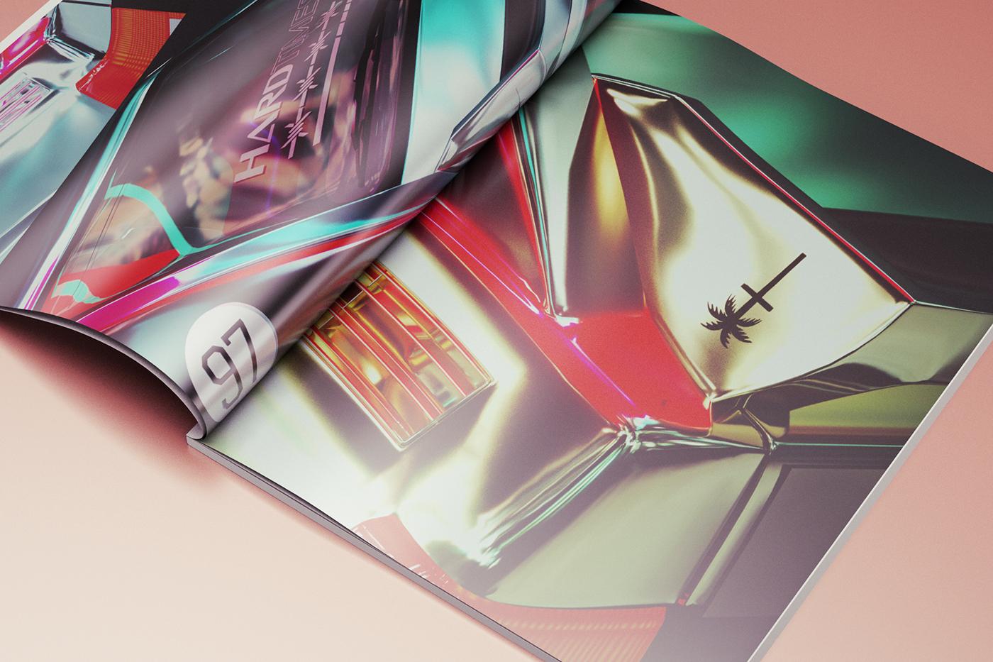 tokyo night car Auto c4d octane chrome la 3D stickers